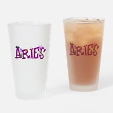 Aries Flowers Drinking Glass