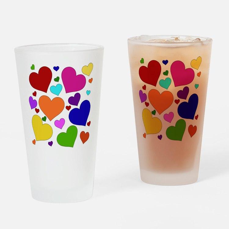 Rainbow Hearts Pint Glass