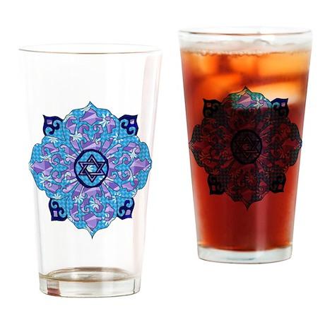 Blue Hanukkah Mandela Drinking Glass