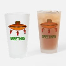 Space Aliens Christmas Drinking Glass