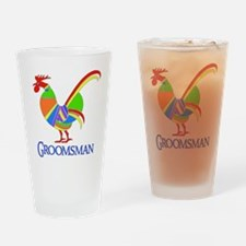 Rainbow Rooster Groomsman Pint Glass