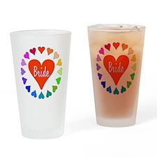Rainbow Hearts Bride Drinking Glass