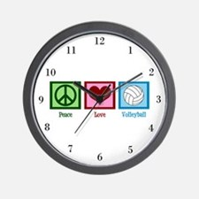 Peace Love Volleyball Wall Clock