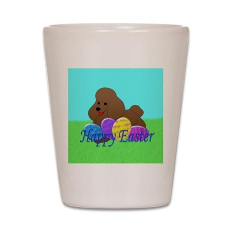 Brown Poodle Shot Glass