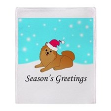 Orange Pomeranian Throw Blanket