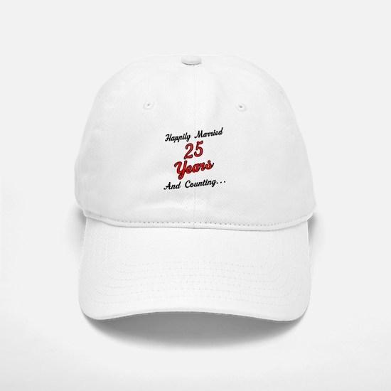25th Anniversary Gift Married Baseball Baseball Cap