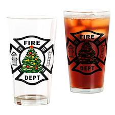 Firefighter Christmas Tree Drinking Glass