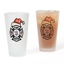 Firefighter Santa Drinking Glass