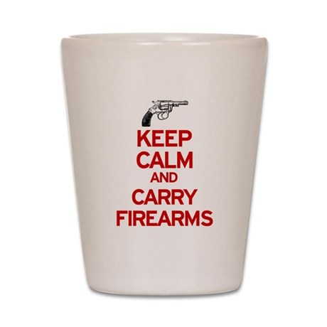 Keep Calm and Carry Firearms Shot Glass