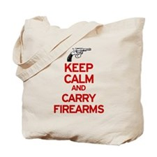 Keep Calm and Carry Firearms Tote Bag