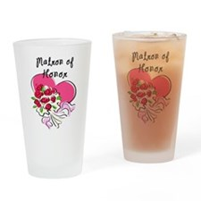 Matron of Honor Heart Bouquet Drinking Glass