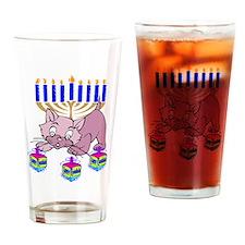 Hanukkah Dreidel Cat Drinking Glass