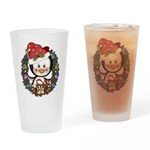 Christmas Penguin Holiday Wreath Drinking Glass