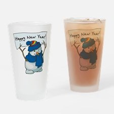 Happy New Years Snowman Drinking Glass