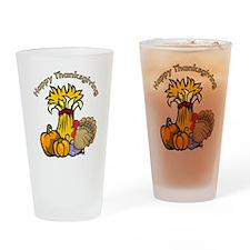 Happy Thanksgiving Pumpkins Drinking Glass