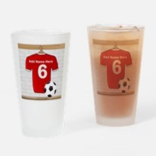 Red Customizable Soccer footb Pint Glass