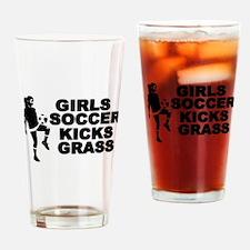 Girls Soccer Kicks Pint Glass