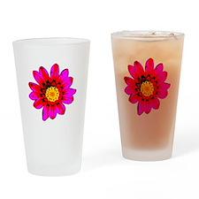 Pink Red Pop art Flower Pint Glass