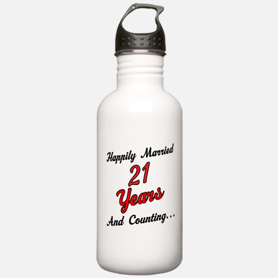21st Anniversary Gift Married Water Bottle