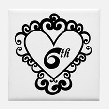 6th Anniversary Love Gift Tile Coaster