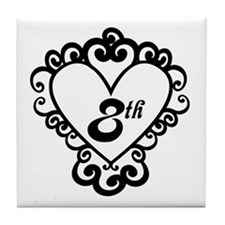 8th Anniversary Love Gift Tile Coaster