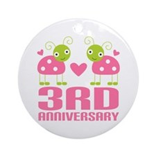 3rd Anniversary Love Gift Ornament (Round)