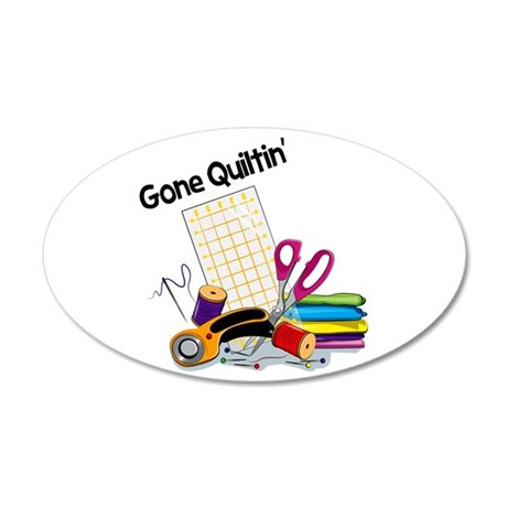 Gone Quiltin' 38.5 x 24.5 Oval Wall Peel