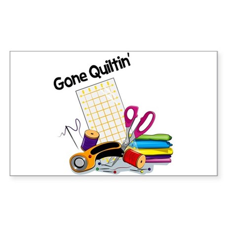 Gone Quiltin' Sticker (Rectangle)