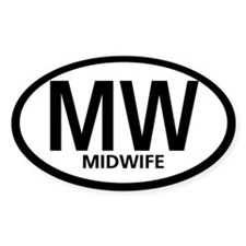 Midwife Black Oval Oval Decal
