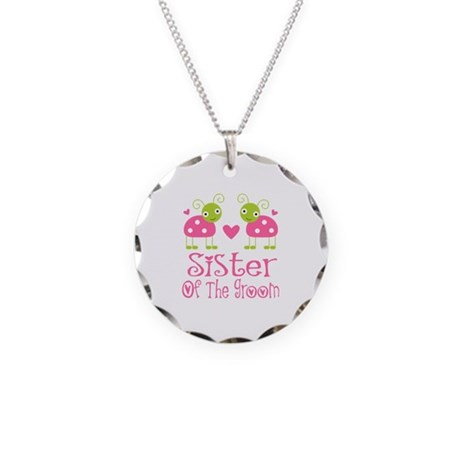 Sister of the Groom Ladybug Necklace Circle Charm