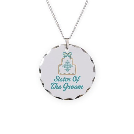 Sister of the Groom Wedding Cake Necklace Circle C