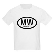 Midwife Black Oval Kids T-Shirt