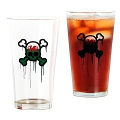 Welsh Punk Skull Pint Glass