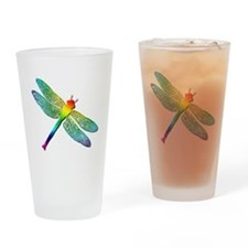 Rainbow Dragonfly Drinking Glass