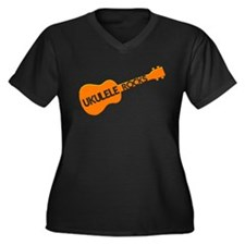 orange ukulele Women's Plus Size V-Neck Dark T-Shi