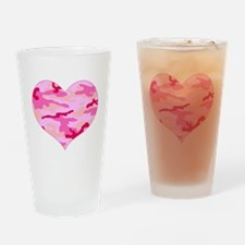 Pink Camo Heart Pint Glass