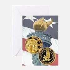 Statue of Liberty Gold Five Greeting Card