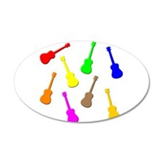 Rainbow Ukuleles 38.5 x 24.5 Oval Wall Peel