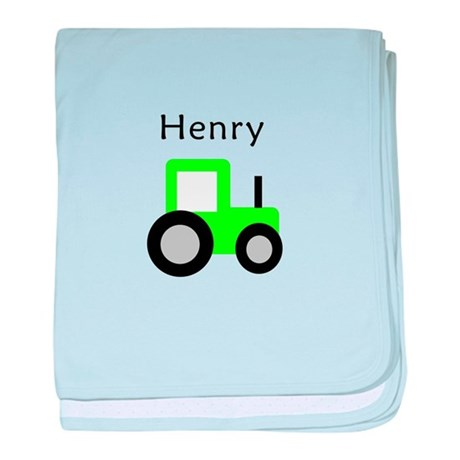 Henry - Lime Green Tractor baby blanket