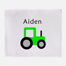 Aiden - Lime Tractor Throw Blanket