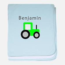 Benjamin - Lime Tractor baby blanket