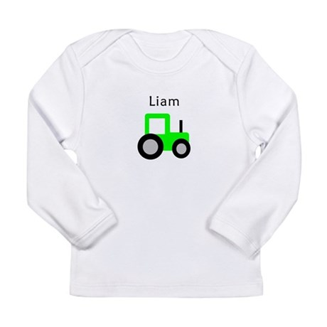 Liam - Lime Green Tractor Long Sleeve Infant T-Shi