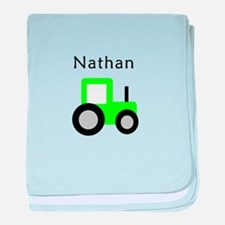 Nathan - Lime Green Tractor baby blanket