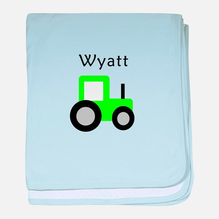 Wyatt - Lime Green Tractor baby blanket