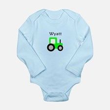 Wyatt - Lime Green Tractor Long Sleeve Infant Body
