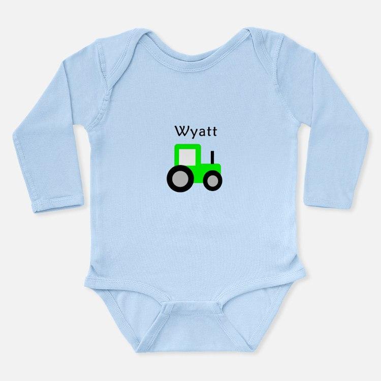 Wyatt - Lime Green Tractor Long Sleeve Infant Body