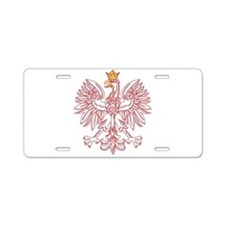 Polish Eagle Outlined In Red Aluminum License Plat