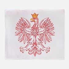 Polish Eagle Outlined In Red Throw Blanket