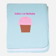 Sofia's First Birthday Cupcak baby blanket