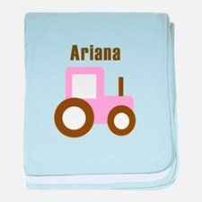 Ariana - Pink/Brown Tractor baby blanket